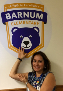 Deputy Superintendent Susana Cordova, who attended Barnum as a student, returned on the first day of school this year.