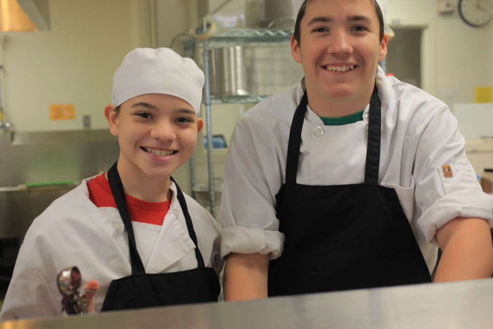 Two students in the kitchen