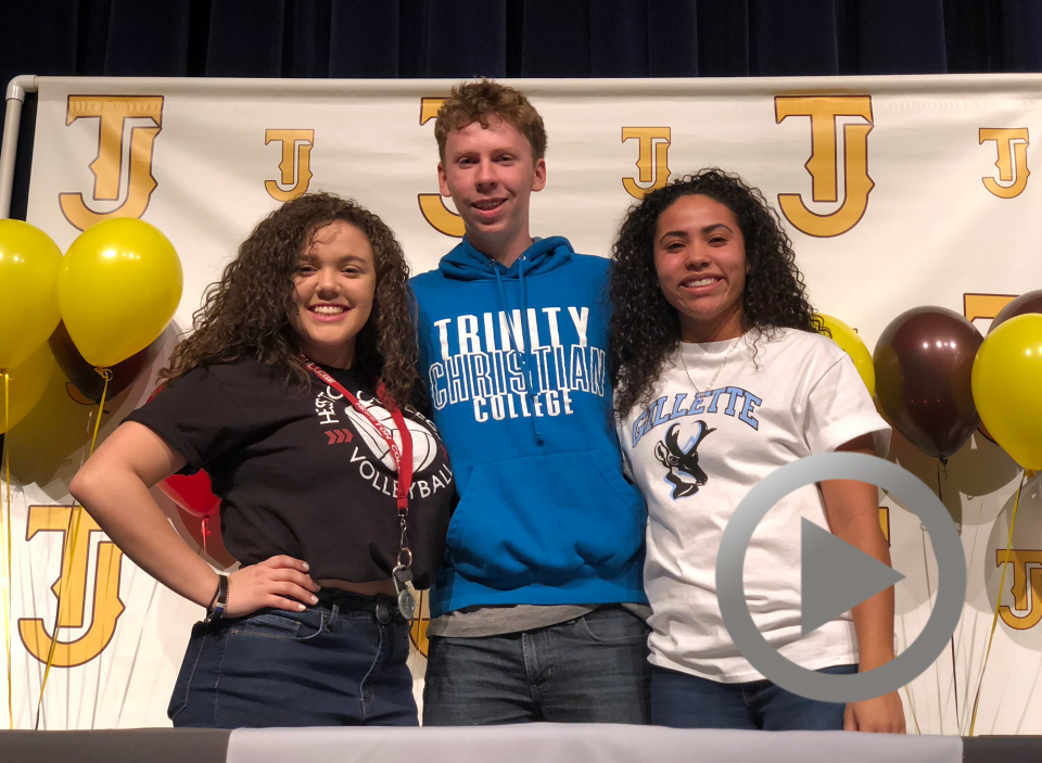 Thomas Jefferson High School student-athletes Macey Murray, Adam Becker and Sydney Thompson all signed with colleges on National Signing Day.
