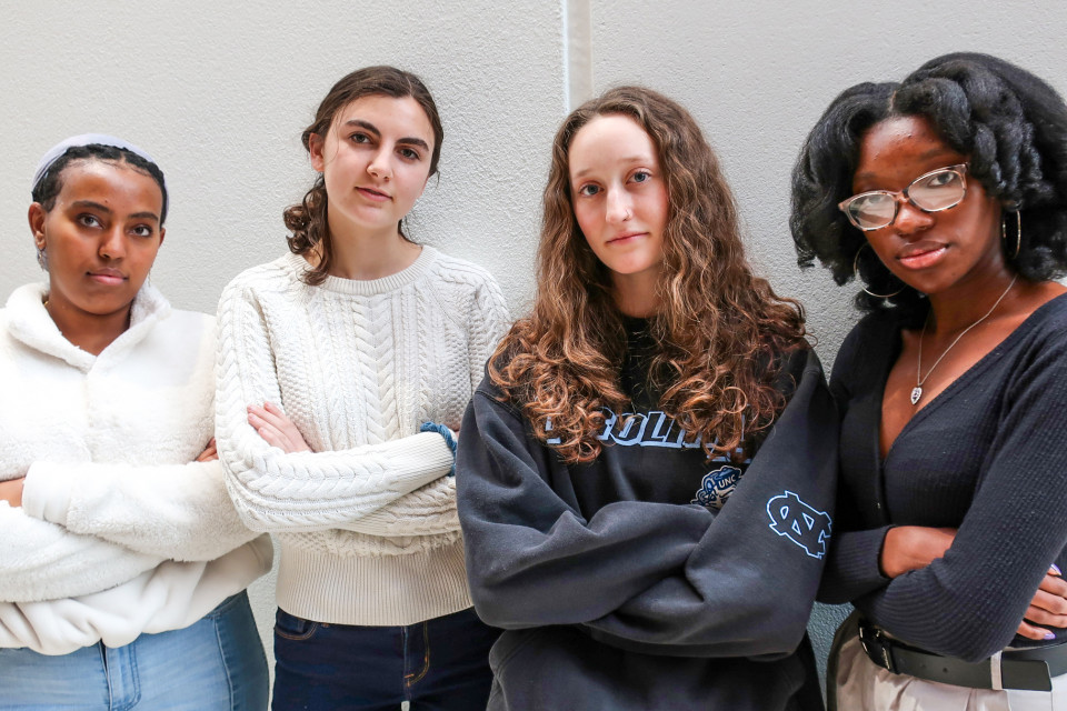 East High students, from left, senior Hermela Goshu, senior Lilia Scudamore, junior Alia Quinby, and senior, Angel Koger. The students have been working with the district's Title IX coordinator to clarify district policies so students know their rights related to sexual harassment and assault.
