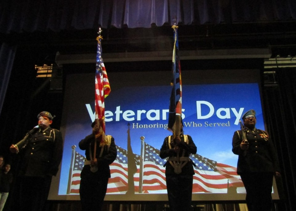 DPS students participating in the Veteran's Day ceremony.