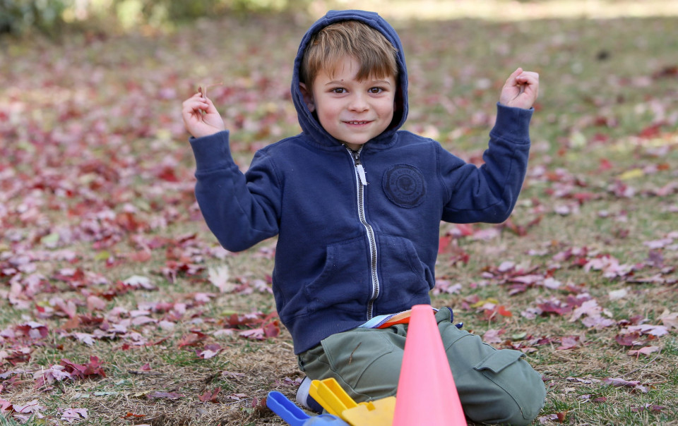 Student playing outside during recess