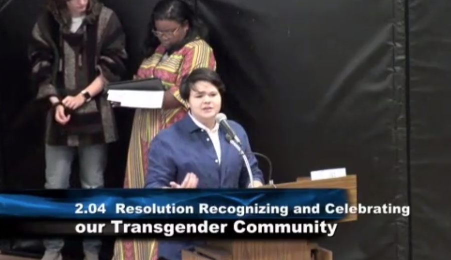 A student speaks about transgender identity at a recent board meeting.