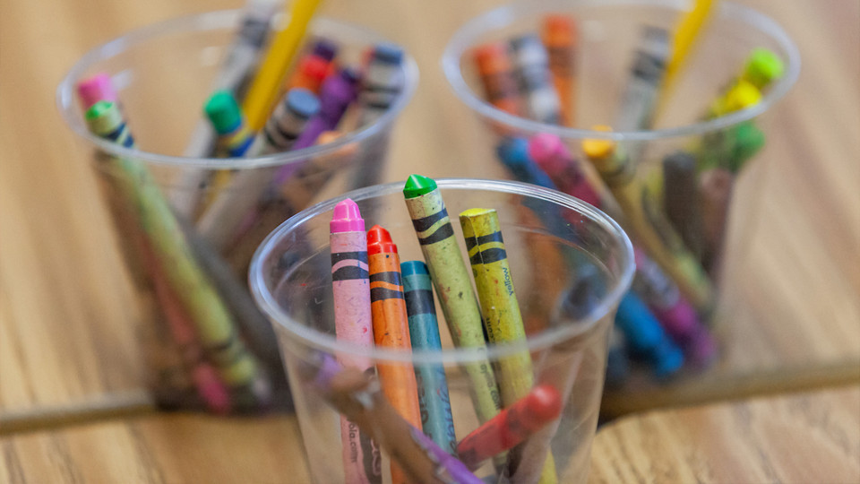 Cups of crayons