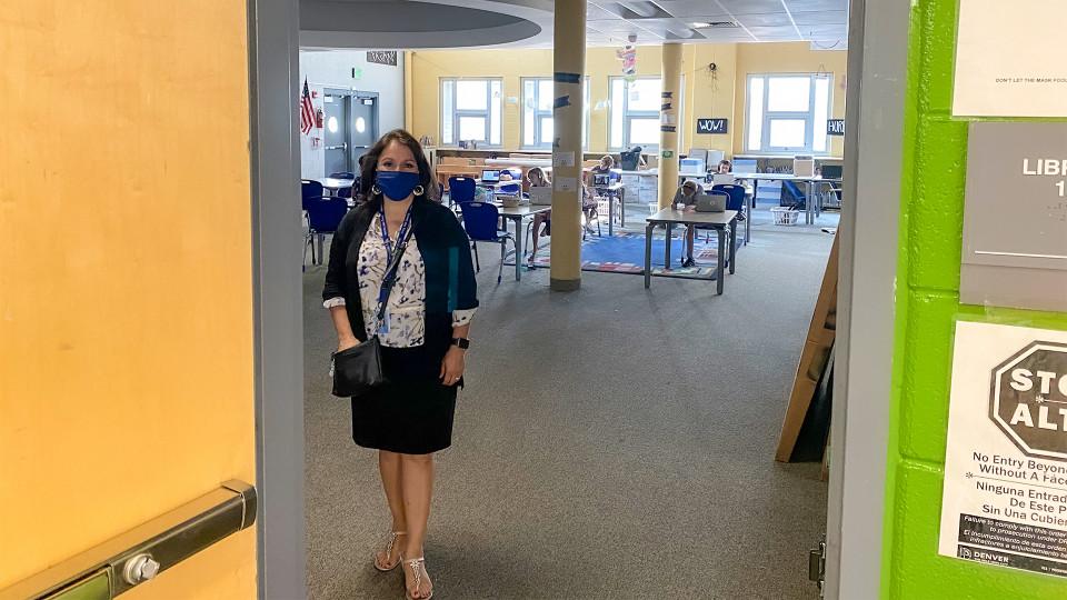 Superintendent Susana Cordova visiting a school